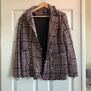 Tweed blazer with pearl buttons